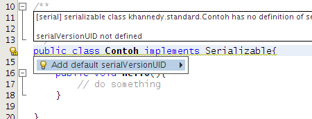 NetBeans Suggestion serialVersionUID