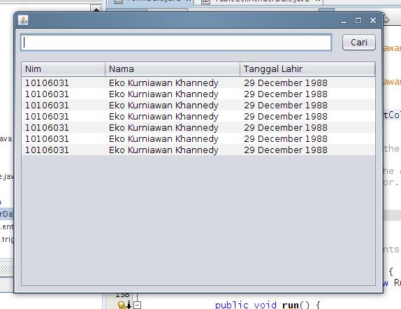 Tampilan Date di JTable Setelah Menggunakan TableCellRendererDate