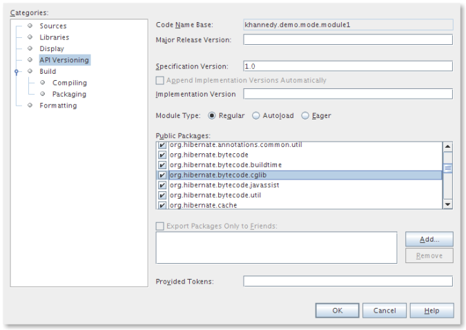 NetBeans Project Properties - API Versioning